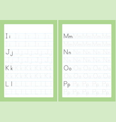 Alphabet letters tracing worksheet vector