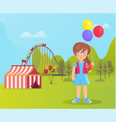 amusement park smiling child inflatable balloon vector image