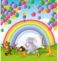 Animals racing below the floating balloons and vector