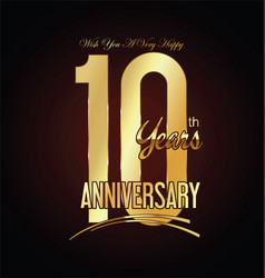 Anniversary golden sign 10 years vector