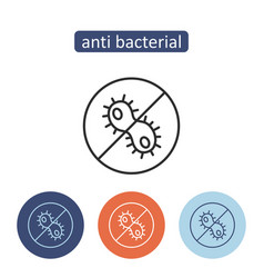 Antibacterial material outline icons set vector