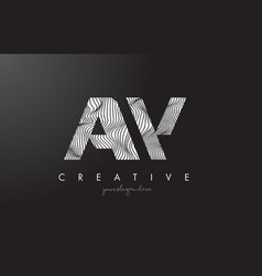 Aw a w letter logo with zebra lines texture vector