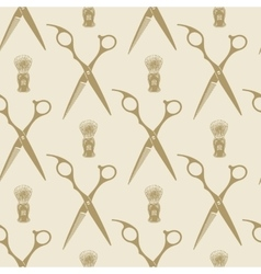 Barber scissors beard brush pattern tile vector