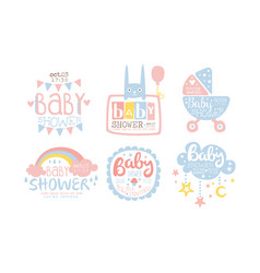 bashower invitation templates set cute design vector image
