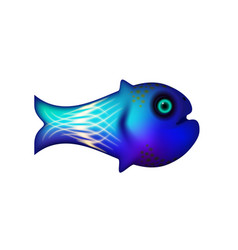 Blue little fish sea and animal vector