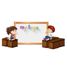 border template with boy and girl on box vector image