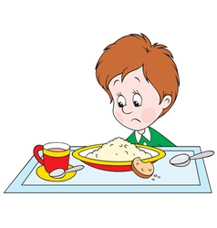 boy at dinner vector image