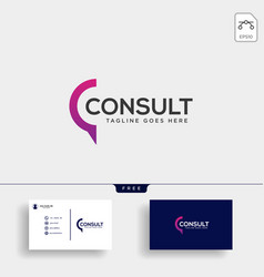 Business consult logo template with business card vector