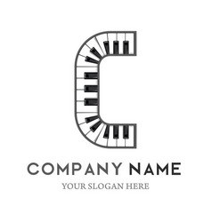c letter logo design piano keyboard logo vector image