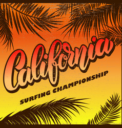 california surfing championship poster template vector image