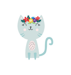 cat or kitten character with flower wreath flat vector image