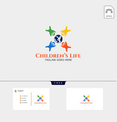 Children life creative logo template with vector
