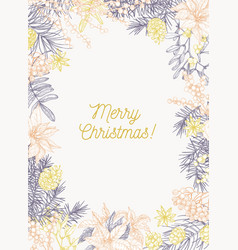 christmas greeting card template with holiday wish vector image