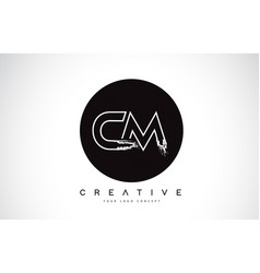 Cm modern leter logo design with black and white vector