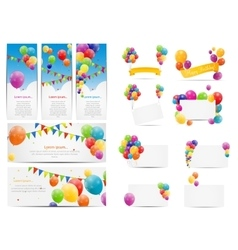 Color Glossy Balloons Background Set vector