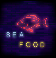 Colorful neon fish cafe sign vector