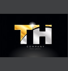Combination letter th t h alphabet with gold vector