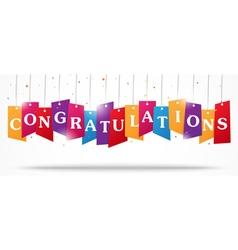 Congratulations design on label with confetti vector image