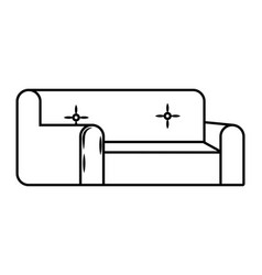 couch icon cartoon black and white vector image