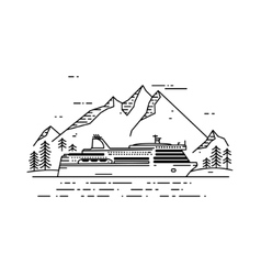 Cruise ship flat line vector
