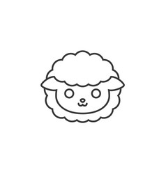 Cute cartoon face of sheep line icon vector