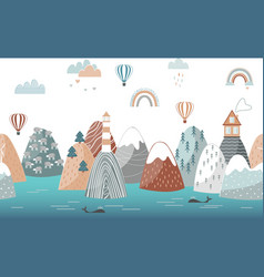 cute seamless landscape pattern with sea waves vector image