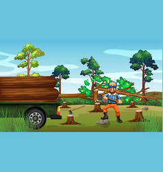 Deforestation scene with lumber chopping trees vector