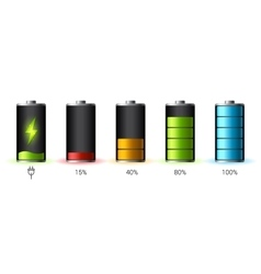 Discharged and fully charged battery smartphone - vector