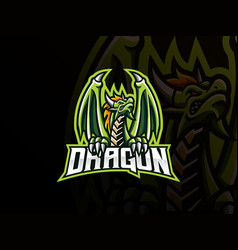 dragon mascot sport logo design vector image