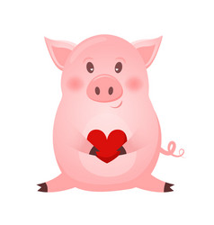 Drawing of cute pig with heart vector