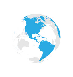 earth globe with blue world map focused on vector image