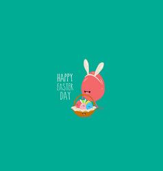 easter egg in rabbit ears carry basket vector image