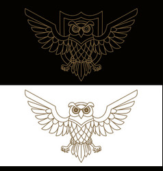 emblem template with owl in golden style design vector image
