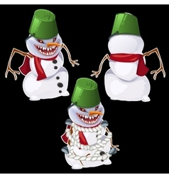 Evil snowman in three poses vector