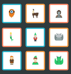 flat icons fish girl dinosaur evil and other vector image