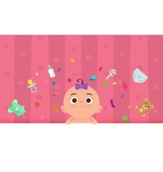 Flat little happy girl with toys vector image vector image