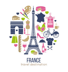 france sightseeing landmarks and famous vector image