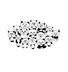 Funny panda family frame for your design vector