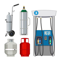 gas station pumping petrol types metal tank vector image