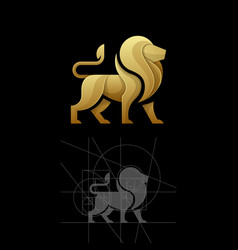 Golden ratio a lion template vector