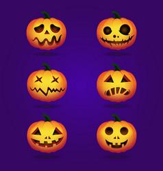 halloween pumpkins in set vector image