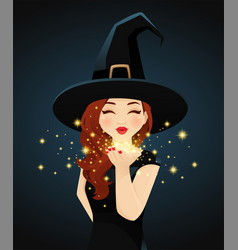 halloween woman blowing kiss vector image