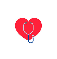 heart with a stethoscope logo for the clinic vector image