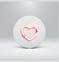 high detailed neon heart on a disc vector image