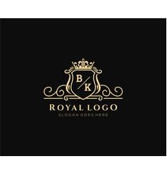 Initial bk letter luxurious brand logo template vector