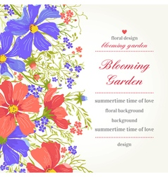 invitation with abstract flowers on a white backgr vector image