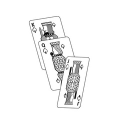 jack queen and king poker cards hand vector image
