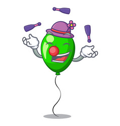 Juggling green balloon on character plastic stick vector