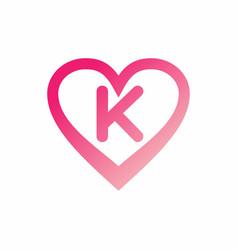 K letter in pink love sign logo vector
