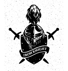 knight helmet on a background of the shield vector image